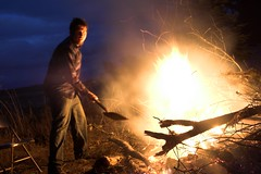Tim playing in the fire.