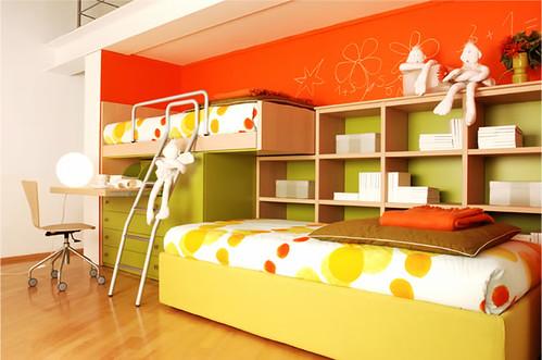 The interior minimalist kids bedroom