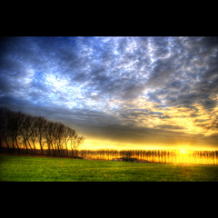 Blue Yellow Green (Dimitri Depaepe) Tags: sunset sun colors clouds landscape bravo hdr magicdonkey theperfectphotographer