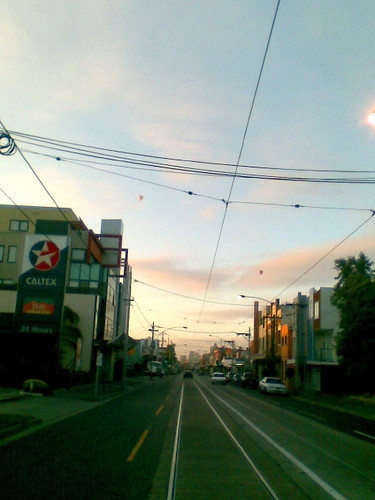 Dawn breaking over Sydney Road (note hot air balloons)