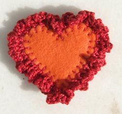 Crochet Edge Heart Brooch