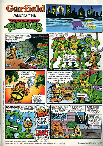 """Garfield MEETS THE Teenage Mutant Ninja Turtles"" .. TMNT Magazine (( Winter 1992 ))"
