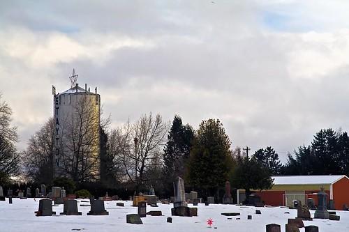 Snow At Lone Oak Cemetery in Stayton Oregon