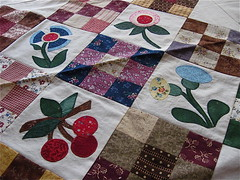 """Calico Garden"" Applique Detail (WendysKnitch) Tags: flowers garden cherry quilt quilting calico applique 9patch"