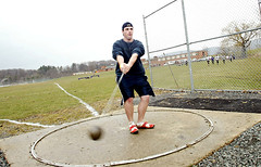 HS athlete Hammer Throw. April 2008.