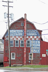 Rochester Grain Elevator - Rochester MI (DetroitDerek Photography ( ALL RIGHTS RESERVED )) Tags: county blue red horse usa animal barn oakland cow midwest michigan farm ad detroit grain rochester advertisement faded april feed fading supplies 2008 redwhiteandblue checkerboard checker 248 supply ghostsign purina supllies