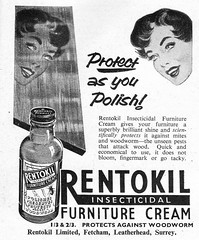 Insectide, furniture polish, and cream! (Will S.) Tags: vintage vintageadvertising vintagead vintageads rentokil vintagemagazine headsinspace