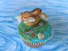 Cupcake for a Fisherman (abbietabbie) Tags: fish cake fly fisherman basket chocolate explore cupcake rod hook reel cupcakeartistscompetition2