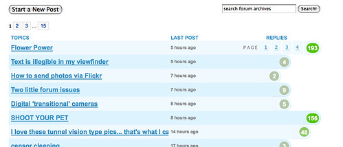 Forum paging mockup