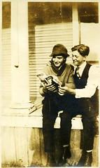 00158 varones (VARONES!) Tags: friends male men boys smile vintage magazine reading couple friendship affection antique young pals porch affectionate varones