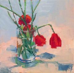Poppies in a Vase (lizaart) Tags: red flower poppy dailypainting lizahirst lizaart