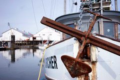 """Pacific Searcher"" (Eric Flexyourhead) Tags: richmond canada britishcolumbia bc steveston river water reflections harbour dock wharf port fishing boat fishingboat pacificsearcher anchor rust rusty rusting shallowdepthoffield sonyalphaa7 zeisssonnartfe35mmf28za zeiss 35mmf28"