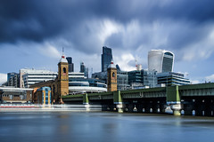 (Andy Bracey -) Tags: cannonstreet trainstation cannonstreetstation bridge railbridge thames riverthames river london bankside greatbritain england cheesegrater thecheesegraterbuilding walkietalkie building skyline londonskyline cityoflondon leadenhall fenchurch cityscape blur longexposure bigstopper leefilters ndfilter nikon reflection reflected