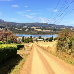 Looking down Old Road to Franklin township and the Huon River