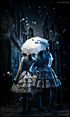 Blue Girls - Lolita Fantasies (Von Wong) Tags: blue girls art mystery umbrella alley couple creative haunted lolita dresses alleyway conceptual abandonned strobist