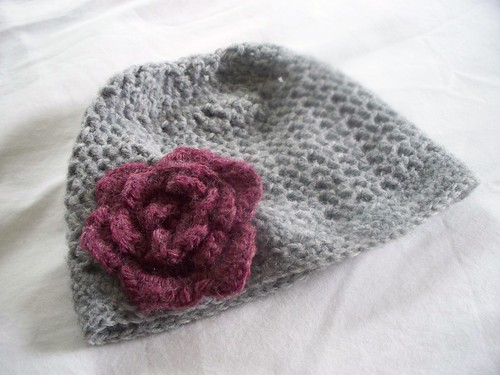 pink hat grey handmade crochet