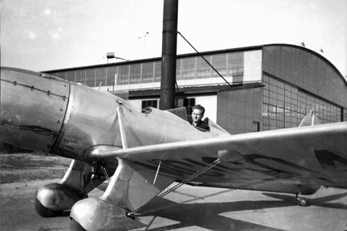 Man in racing plane