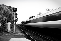 Train Fly By (Simon Didmon) Tags: bw station by train lens fly nikon long exposure track railway filter british vr 18mm 105mm nd4 d3000