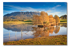 Mt Roland, Sheffield, Tasmania, Australia (Matthew Stewart | Photographer) Tags: autumn mountain water fence colours sheffield australia calm tasmania autumntrees lakereflection mtroland landscapestas