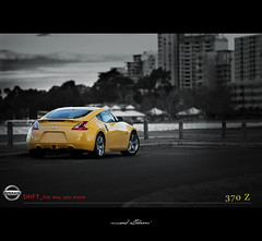 Nissan SHIFT_the way you move (BW) (Musaad (CJ)) Tags: car sport way you shift move z 370 nissa blackwhitephotos 370z worldcars shiftthewayyoumove