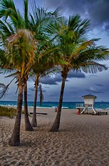 Fort Lauderdale Beach (RichHaig) Tags: beach water clouds sand palmtrees fl ftlauderdale nikkor18200mmf3556 d7000 3exposurehandheldhdr