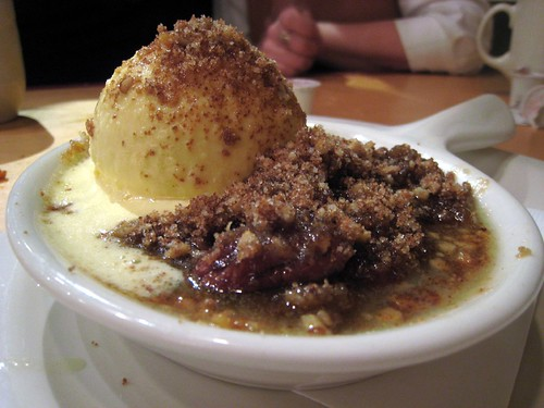 Dessert - pecan cobbler with ice cream