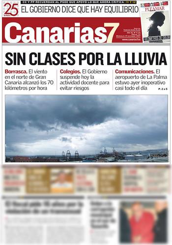 Portada del Canarias7 - 19/12/2007