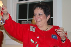 Aunt Phyllis shows off her collectible ornament.