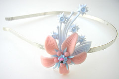 Pink and Blue Vintage Flowers Headband