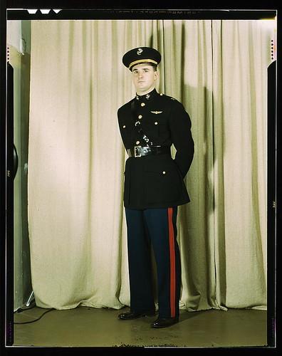 Marine Corps Captain In Dress Blue Uniform World War Ii Loc