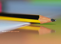 Studying -_- ([  //  QTR) Tags: pencil paper table blurry nikon focus desk sigma finals studying 105mm d80 albandri