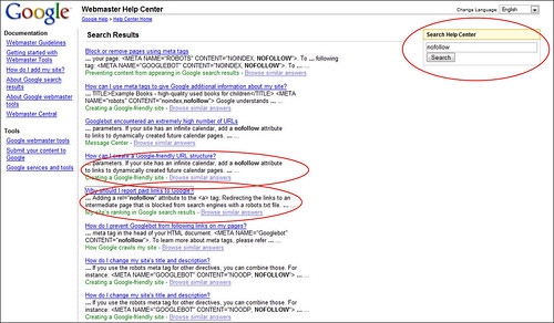 Google Webmaster Central has no FAQ Page on 'nofollow'