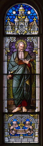 Saint Peter Roman Catholic Church, in Saint Charles, Missouri, USA - stained glass window of Saint Matthew