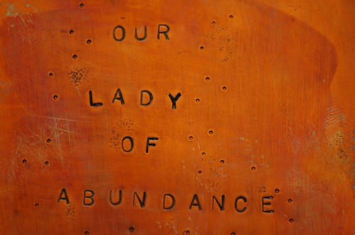 "Detail, label, ""Our Lady of Abundance,"" inside lid"