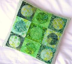 Elements, Earth - Bali Batik Patchwork Pillow (saysie) Tags: green handmade elements quilting patchwork applique balibatik saysie