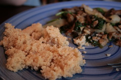 Sauteed Seitan with Mushrooms and Spinach (MeganAP) Tags: cooking mushrooms vegan onions seitan spinach cousous veganomicon