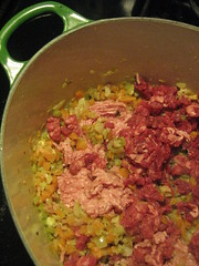 Adding the pork and beef to our Bolognese