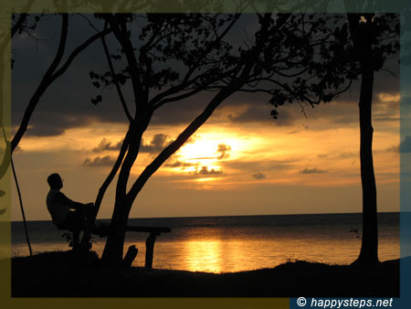 Photo of Dad sunset-watching at Punta Bulata White Beach Resort, Cauayan, Negros Occidental