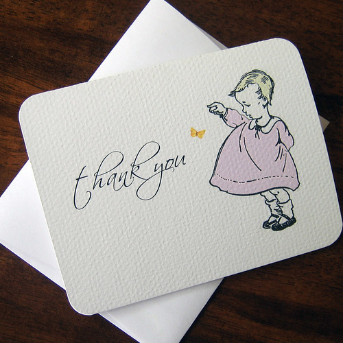 Baby Meets a Flutterby -- Thank You Cards for Shower or New Baby -- Boxed Set of 8