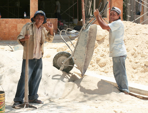 construction workers, Tulum, Mexico