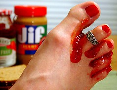 Toe Jam (bound_4_freedom) Tags: bread table foot toes sticky gross jam pbj peanutbutter toering eww runny gooey toejam fgr 365days ewwewwandmoreeww