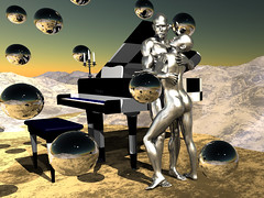 Aluminum Love (ViaMoi) Tags: love photoshop reflections 3d maya piano sphere lust checker cs3 3dmax viamoi viamoiquickshow1