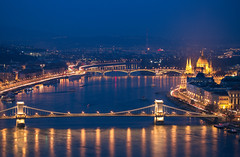 Blue hour (Vagelis Pikoulas) Tags: budapest buda pest hungary europe travel landscape city cityscape view chains chain bridge parliament river danube architecture capital 2016 november autumn blue hour sky canon 6d tamron 70200mm vc long exposure night light lights nightscape
