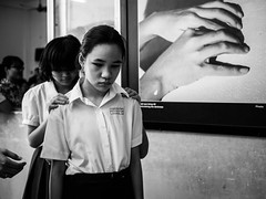 Saigon 12 (arsamie) Tags: nguyen dinh chieu blind school ho chi minh city saigon hcm hcmc girl uniform focus sad hand poster braille friend touch contact friendship help monochrome black white