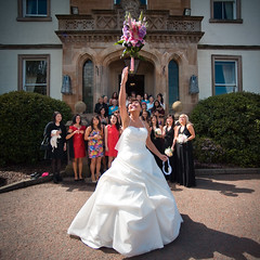Bouquet Toss (TGKW) Tags: flowers wedding portrait people woman white house girl hotel bride afternoon dress expression chinese sunny cameron bouquet loch wendy lomond throw 2033