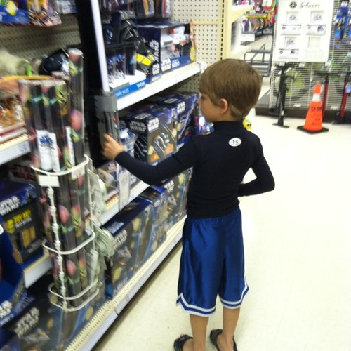 "R ToysRUs so Chase can pick something out and he said ""where is all aisle for kids who like violent stuff?"" Nice!!"