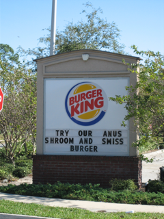 Burger King Anus Shroom and Swiss Burger