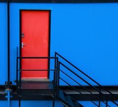 red door (lesbru) Tags: door blue red london stairway portakabin d40x