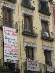 Protest Signs Hanging from Apartments in Madrid
