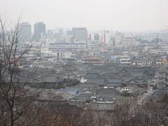 Jeonju Hanok Village with modern Jeonju in background